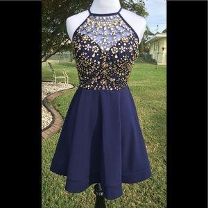 NEW! Navy & Gold Jeweled Halter Dress